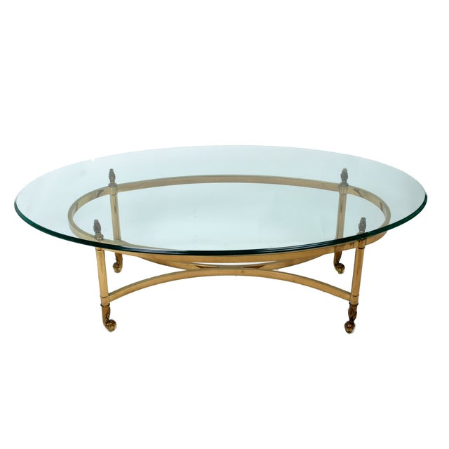 Decorative French Glass & Brass Table - Image 1 of 10