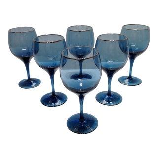 Lenox Blue Crystal Goblets - Set of 6