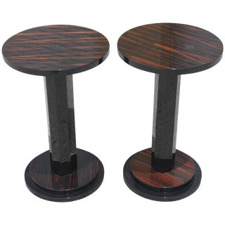 1940s French Art Deco Macassar Ebony End Tables - A Pair