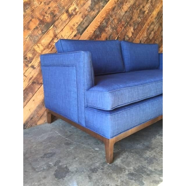 mid century style custom love seat sofa chairish. Black Bedroom Furniture Sets. Home Design Ideas