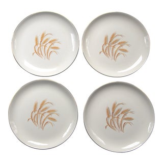 "Vintage Mid-Century ""Golden Wheat"" Luncheon Plates - Set of 4"