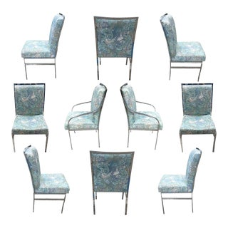 Set of 8 Pierre Cardin Chrome Dining Chairs in the Stye of Milo Baughman
