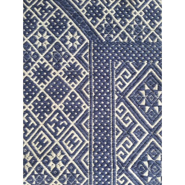Hand Embroidered Indigo Tribal Rug - 2′6″ × 5′ - Image 4 of 6