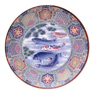 Japanese Large Hand Painted Koi Fish Plate