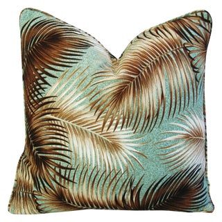 Custom Tailored Mid-Century Palm Leaves Barkcloth Feather/Down Pillow