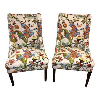 Colorful Reupholstered Slipper Chairs - A Pair