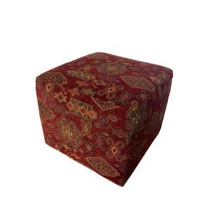 Red Kilim Upholstered Ottoman