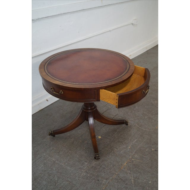 Weiman 1940s Mahogany Round Leather Top Drum Table Chairish