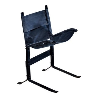 Max Gottschalk Metal and Canvas Sling Lounge Chair, USA, 1960s