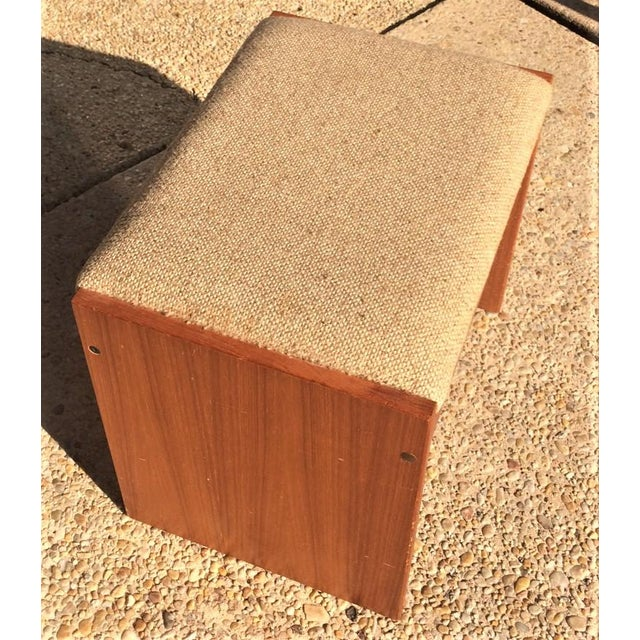 Danish Modern Upholstered Teak Vanity Stool - Image 3 of 4