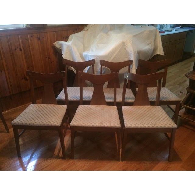 Danish Modern Dining Table With Glass Protector & Chairs - Image 3 of 5