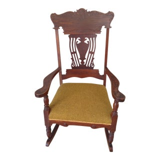 Victorian Wood Carved Upholstered Seat Rocking Chair