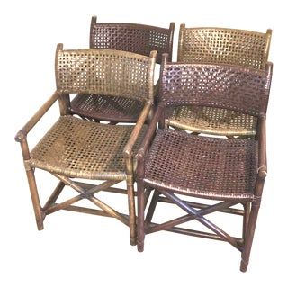 Rattan and Rawhide Armchairs - Set of 4