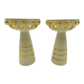 Mid-Century Modern Italian Ceramic Candle Holders - A Pair