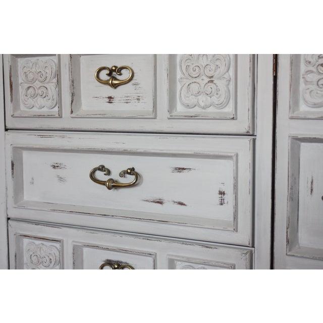 Carved Wood Detailed Gray Dresser - Image 11 of 11