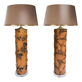 Antique Wallpaper Roller Lamps - A Pair