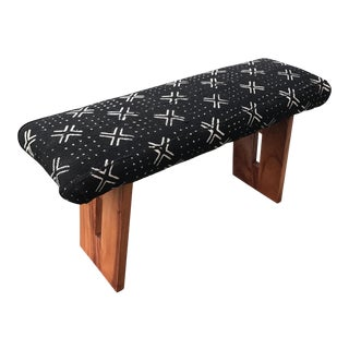 African Mud Cloth & Mahogany Bench