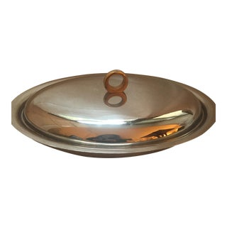 Mid-Century Italian Stainless Steel Serving Dish