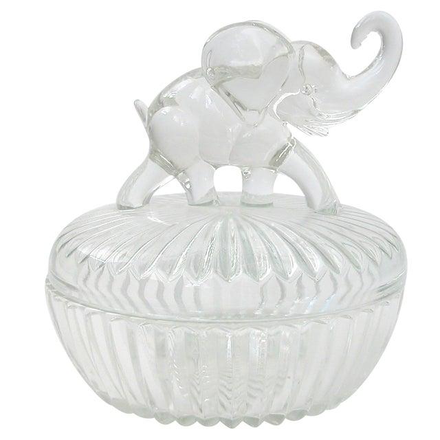 Image of Glass Lidded Elephant Bowl