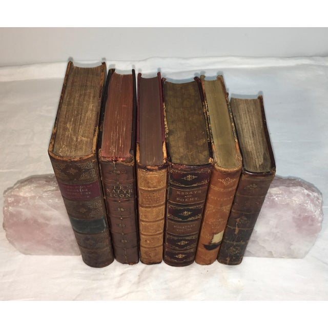 Image of Distressed Antique Leather Display Books - Set of 6