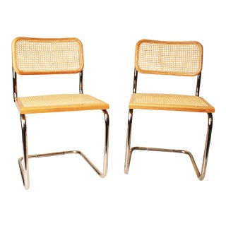 Chrome & Caned Marcel Breuer Dining Chairs - A Pair