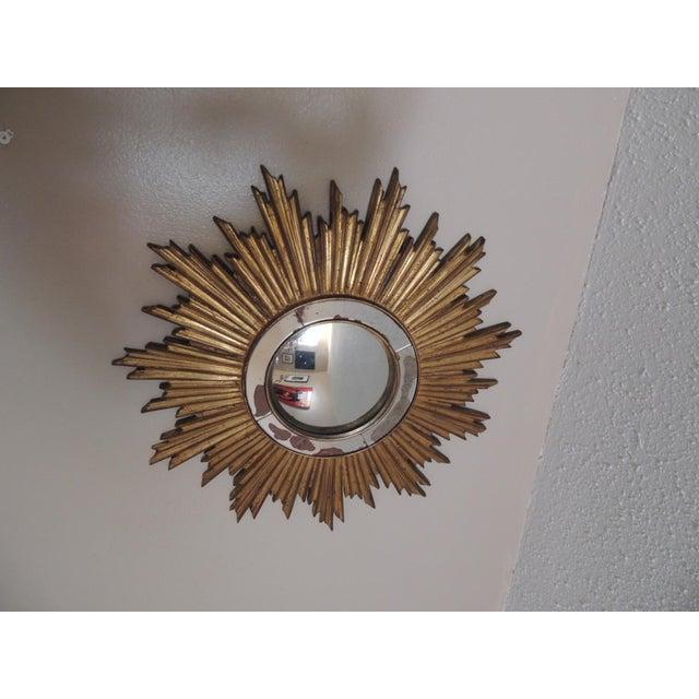 Vintage Gold Sunburst Wood Convex Mirror - Image 3 of 4