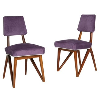 Kagan Purple Mahogany Side Chairs  - Pair