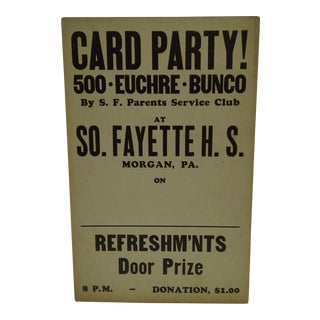 """Vintage South Fayette High School """"Card Party"""" Poster"""