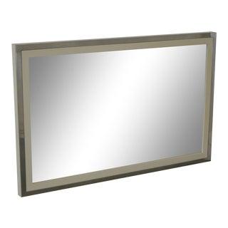Mid Century Modern White Lacquer & Chrome Frame Wall Mirror