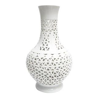 Vintage Blanc De Chine Pierced Vase