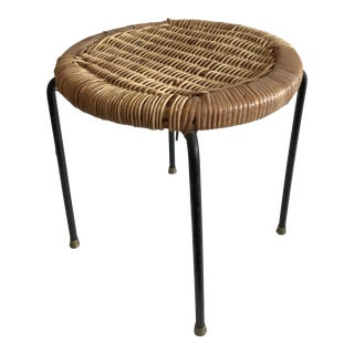 Japanese Modern Iron & Cane Stool