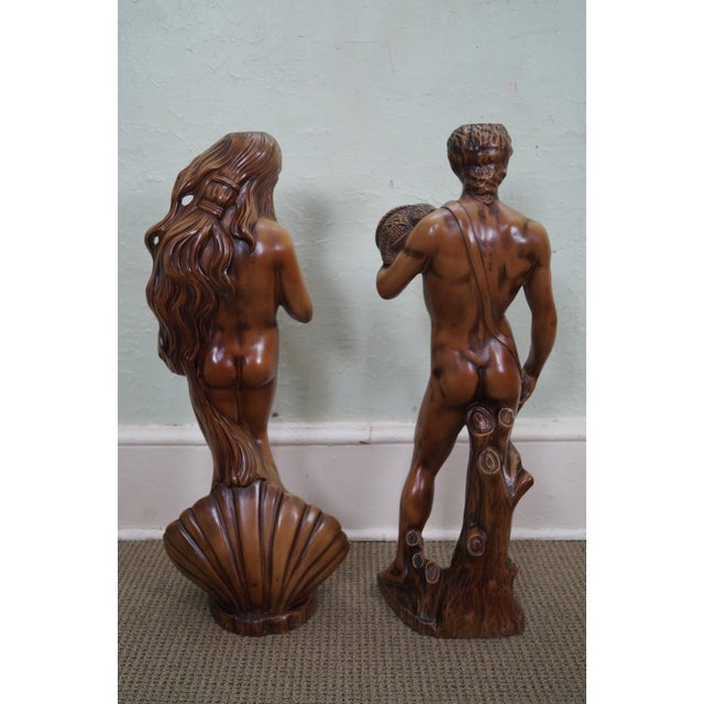 Carved Composition Adam/David Eve/Venus Pedestals - Image 4 of 10
