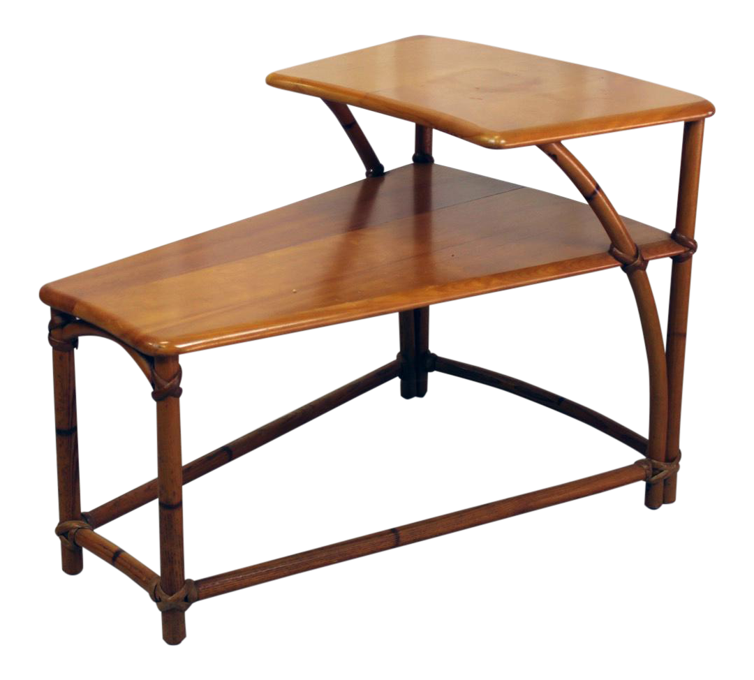 Heywood Wakefield TwoTiered Wedge Shaped End Table