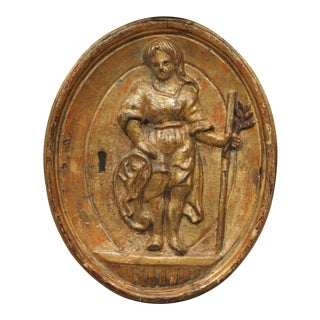 18th century giltwood bas relief carving