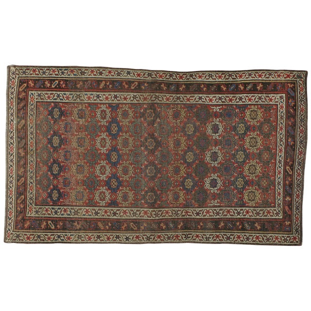 "Antique Persian Distressed Rug - 3'10"" X 6'6"" - Image 1 of 4"
