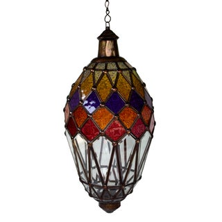 Hanging Glass Lantern With Kaleidoscope Accents