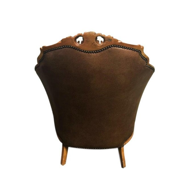 Antique Carved Barrel Chair - Image 3 of 7