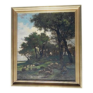 Original Signed Antique Oil On Canvas-Sheep & Shepherd-Listed French Artist-Barbizon School