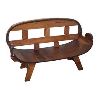 Vintage Oak Barrel Settee Bench