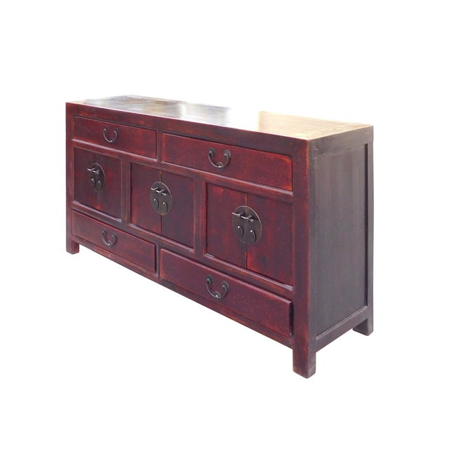 Chinese reddish brown low tv console cabinet chairish for Asian console cabinet