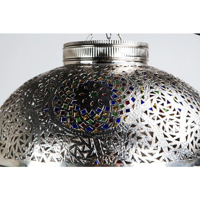 Moroccan Boho Chic Silver Pendant Light With Multi-Color Glass - Image 4 of 5
