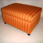 Image of Mid-Century Orange Upholstered Ottoman