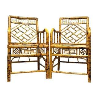 Elegant Hollywood Regency Style Bamboo Chairs