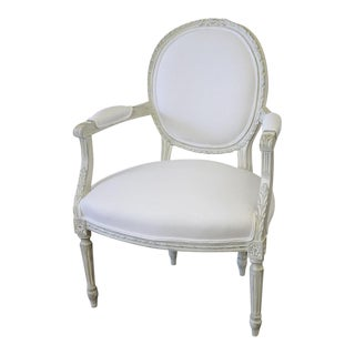 20th Century Louis XVI French Light Gray Armchair