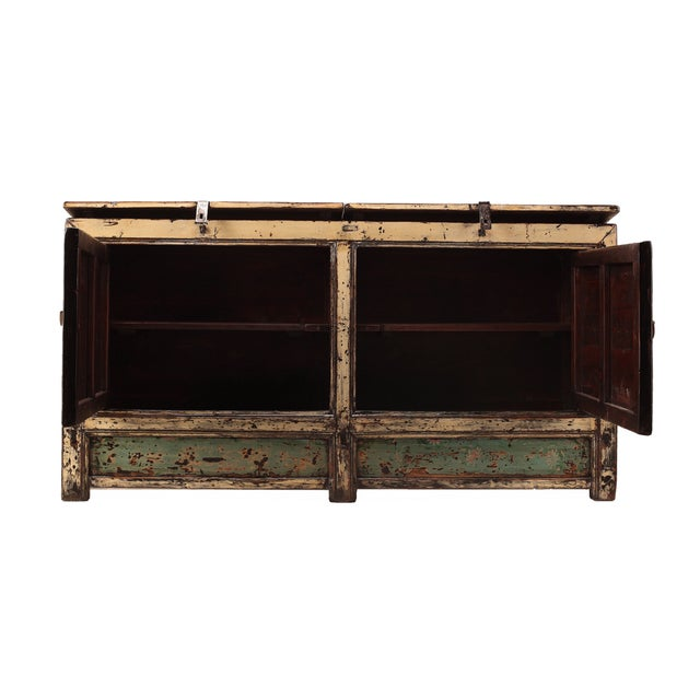 Chinese Gansu Pastel Yellow & Pink Console Cabinet - Image 2 of 5