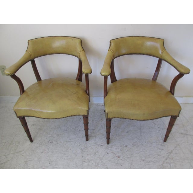 Image of Vintage Butterscotch Leather Armchairs - A Pair