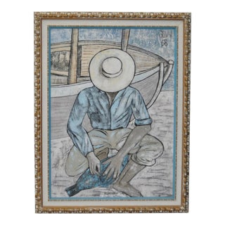 """Vintage Impressionist Oil Painting """"The Fisherman"""" by Savy c.1968"""