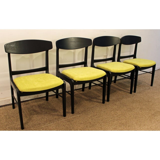 Image of Mid-Century Danish Modern Ebonized 'Citron' Curved Back Dining Chairs - Set of 4