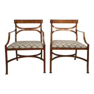 Maitland Smith Tole Armchairs - a Pair