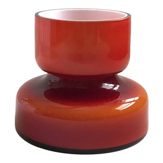 1960's Holmegaard Scandinavian Carnaby Red Glass Vase